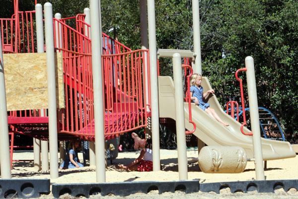 Children play on playground