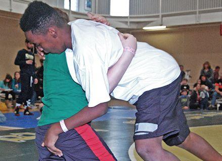 Boys wrestling at Mats 2 Men.