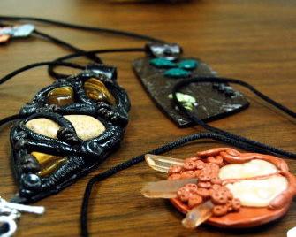 Pam Borawski's polymer clay figures.